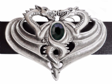 Opposing Dragons Pewter Belt Buckle with a Jet-coloured Stone BB504